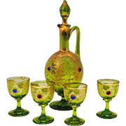 Moser Style Jeweled and Raised Gold Gilded Decanter and Cordial Set
