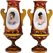 Pair of Victorian Moser Style Cranberry Bohemian Art Glass White Overlay Portrait Vases with Gold Decoration