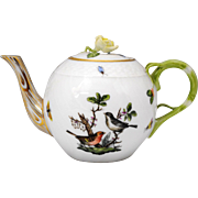 Herend Rothschild Bird Individual Size Teapot with Rose Finial Lid