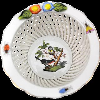 Herend Rothschild Bird Woven Basket Weave Bowl or Trinket Dish