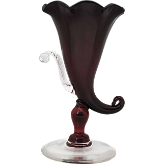 Pairpoint Ruby Red Cornucopia Shape Vase with Applied Leaf Decoration