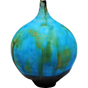 Rose Cabat Feelie Art Pottery Vase Turquoise Blue and Tan