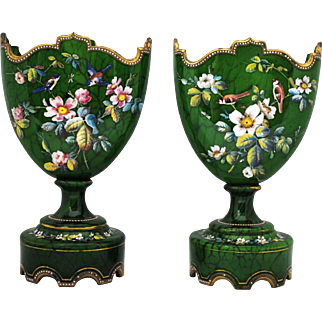 Pair of Continental Green Victorian Enamel Glass Mantle Vases with Birds