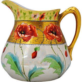 Stouffer GDA Limoges Hand Painted Poppy Decoration Artist Signed Pitcher