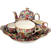 Royal Winton Sunshine Chintz Individual Breakfast Set Teapot Creamer Sugar Cup & Tray