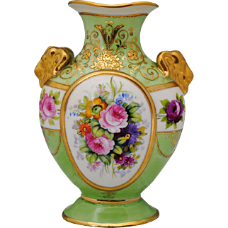 Nippon Hand Painted Floral Vase with Ram's Head Handles