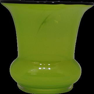 Loetz Translucent  Green Tango Ware Vase with a  Black Rim