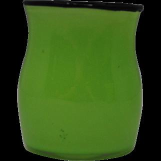 Loetz Green Tango Ware Vase or Cup with Black Rim