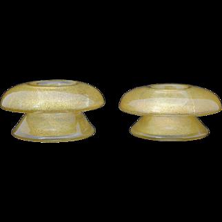 Pair of Gold Flecked Murano Venetian Art Glass Mushroom Shape Candle Holders
