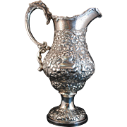 A E Warner Sterling Coin Silver Baltimore MD Repousse 33.8 Troy Oz. Pitcher Circa 1850