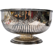 Repousse Sheffield Silver Plate Punch Bowl