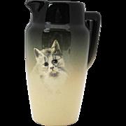 Weller Eocean Cat Portrait Art Pottery Pitcher