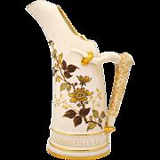 Royal Worcester 1886 Horn Shape Ewer or Vase Floral Decoration