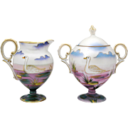 Unmarked RS Prussia Swan Creamer & Sugar Bowl Luster Finish