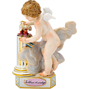 "Meissen Figure of a Cherub and 2 Hearts on Pedestal ""Teblesse et soulage"" Triangular Base"