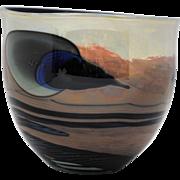 John Lewis Contemporary Art Glass Moonscape Planet Bowl Shape Vase