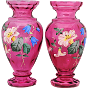 Pair of Victorian Cranberry Art Glass Vases with Enamel Flower Decoration