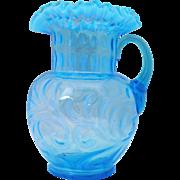 Blue Opalescent Buttons & Braids Victorian Art Glass Pitcher