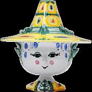 Bjorn Wiinblad Danish Art Pottery Face Vase with Hat 1972