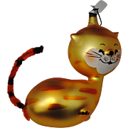 Vintage Italy Hand Blown Mercury Glass Jolly Cat Christmas Ornament