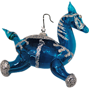 Vintage Italy Hand Blown Glass Christmas Ornament Blue Horse