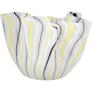 Signed Venini Black Yellow and White Latticino Hankerchief Italian Art Glass Vase