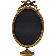 Antique French Style Gilt Gold Dore on Bronze Oval Standing Photo Picture Frame