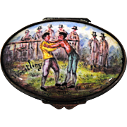 Antique Battersea Wrestling Enamel on Copper Pill Snuff or Patch Box