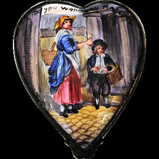 Antique Battersea Match Seller Heart Shape Enamel on Copper Pill Snuff or Patch Box