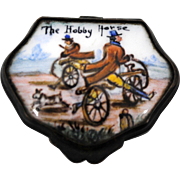 Antique Battersea Men on Bicycles Enamel on Copper Pill Snuff or Patch Box