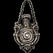Art Nouveau 2 Griffins Sterling Silver Chatelaine Perfume Scent Bottle