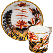 Antique English Staffordshire Imari Miniature Can Shape Cup and Saucer