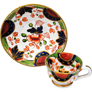 Antique English Staffordshire Gaudy Dutch Miniature Cup and Saucer