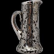 Alvin Grape Pattern Sterling Silver Overlay Glass Pitcher