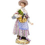 19th Century Meissen Figure of a Woman with a Song or Hymn Book