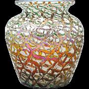 Durand Moorish Crackle Art Glass Vase
