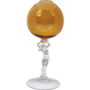 Cambridge Statuesque Female Nude Stem Amber Ivy Ball Vase