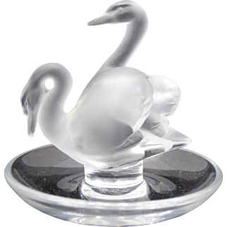 Lalique Art Glass Deux Cygnes Double Swan Ring Pin Tray Trinket Dish