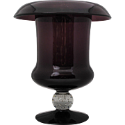 Large Pairpoint Amethyst Urn Shape Vase with Clear Controlled Bubble Stem