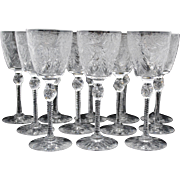 Set of 12 Pairpoint Engraved Art Glass White Wine Goblets Stemware Stem