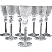 Set of 8 Pairpoint Engraved Art Glass Cordials Stem Stemware