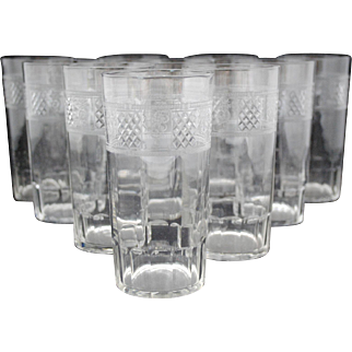 Set of 10 Etched and Cut Glass Tall Water or Iced Tea Tumblers Stem Stemware