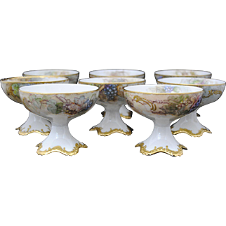 Set of 8 T & V Limoges France Hand Painted China Grape Decoration Punch Cups