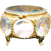 Vintage Beveled Glass and Gilt Ormolu Dresser Trinket Box or Jewelry Casket
