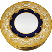 Set of 12 Lenox Service or Dinner Plates with Raised Gold Decoration and Cobalt Blue Border
