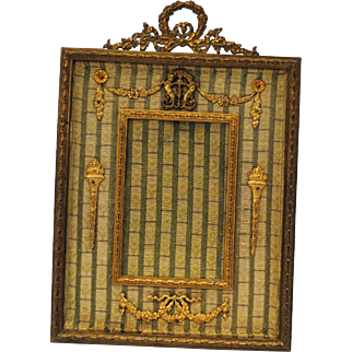 French Gilt Bronze Ormolu Easel Back Photo Picture Frame