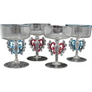Set of 4 Venetian Murano Art Glass Champagne Glasses Stems Stemware