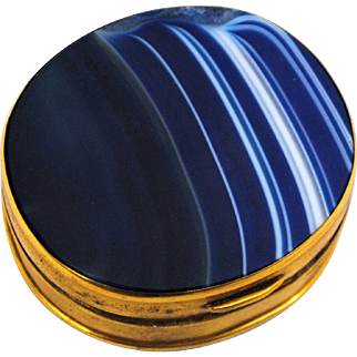 Blue Banded Agate Snuff or Patch Box
