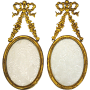 Pair of French Gilt Bronze Wall Hanging Photo Picture Frames