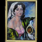 F J Carmona Limoges France Enamel on Copper Portrait of a Woman